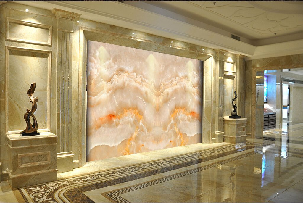 飞龙在天欧式大理石纹电视背景墙 整屋定制罗马柱